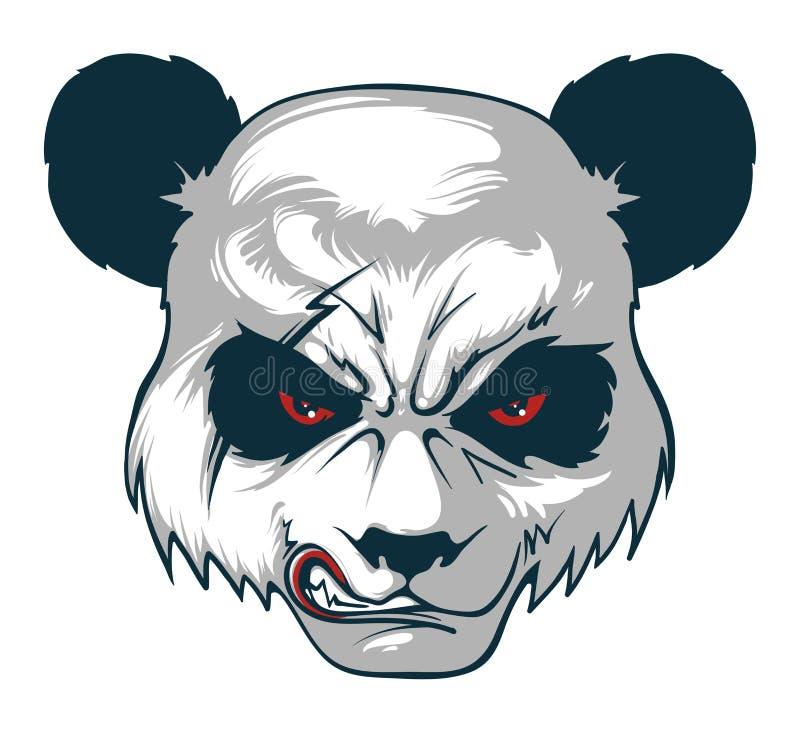 Gniewna pandy ` s głowa z blizną i czerwienią ono przygląda się obrazy stock