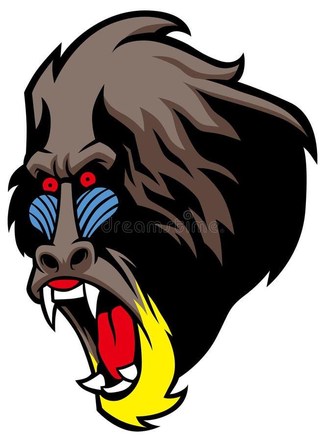Gniewna pawian głowa ilustracja wektor