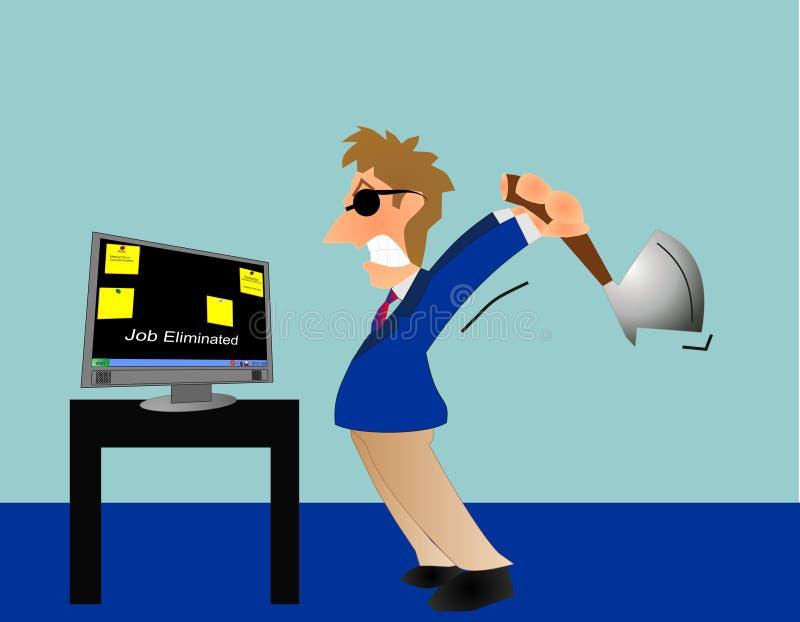 gniewna praca gubjący mężczyzna ilustracja wektor