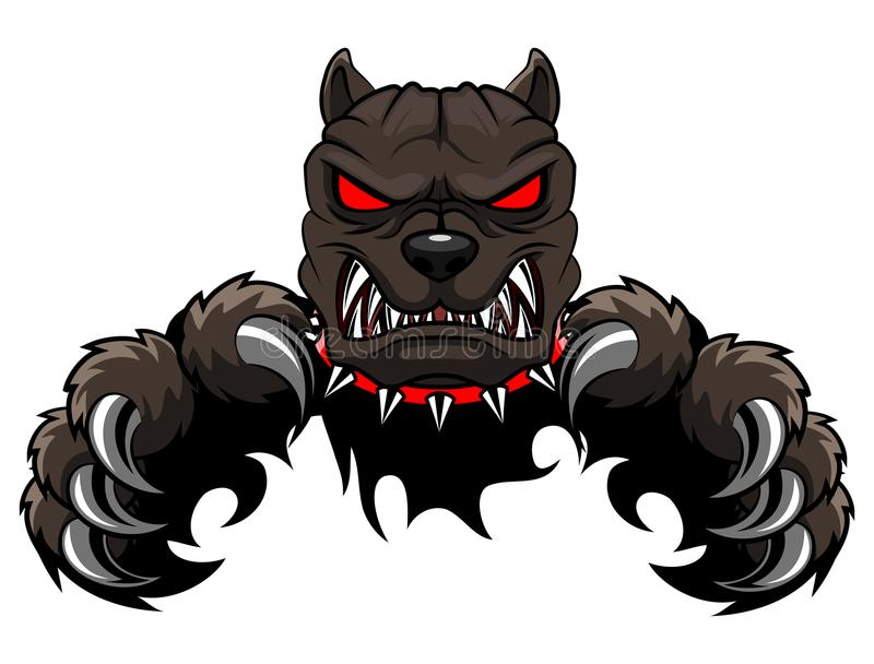Gniewna psia maskotki kreskówka royalty ilustracja