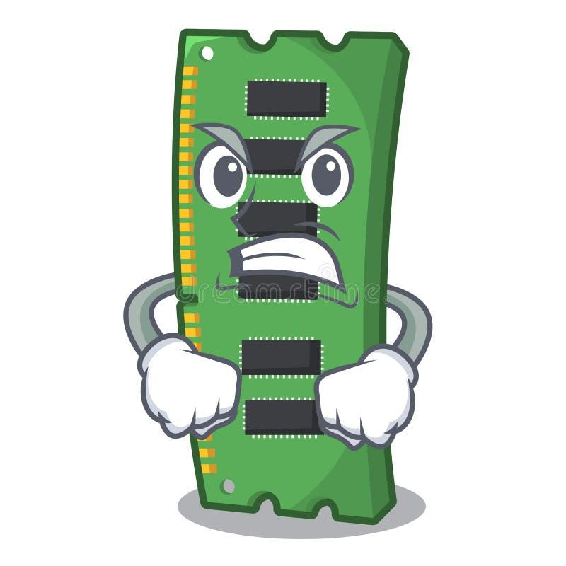 Gniewna RAM karta pamięci w peceta charakterze royalty ilustracja