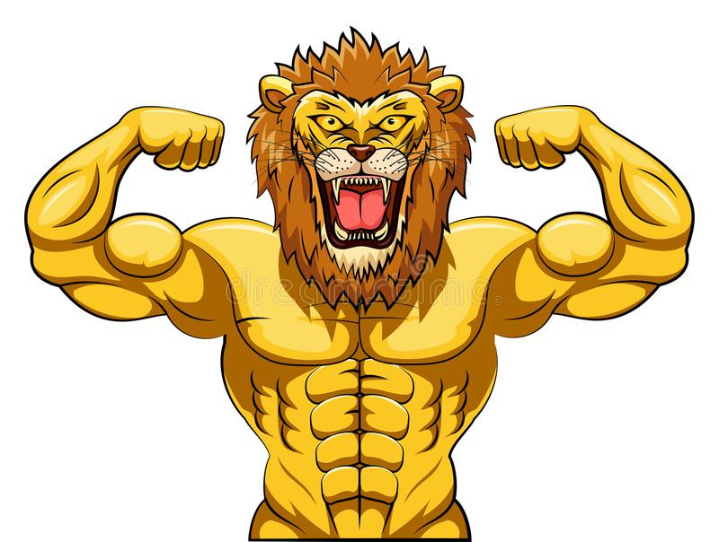 Gniewna silna lew maskotka ilustracja wektor