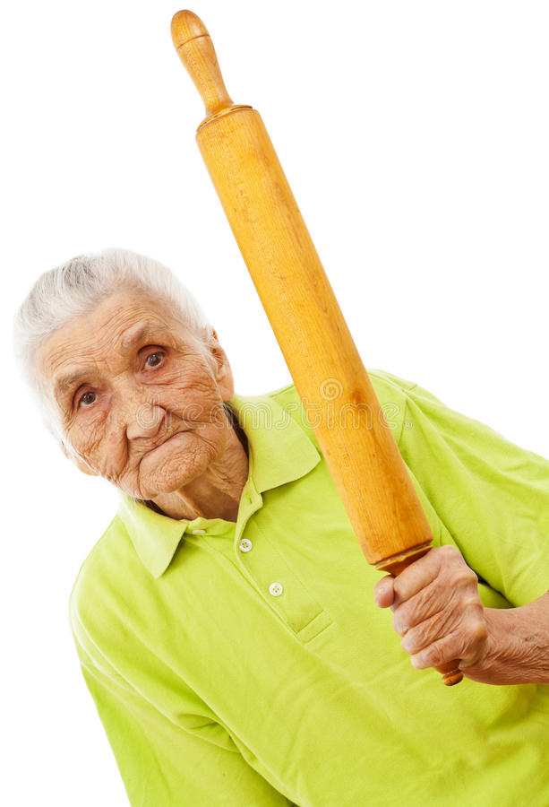 gniewna stara wałkowa toczna groźna kobieta zdjęcia stock