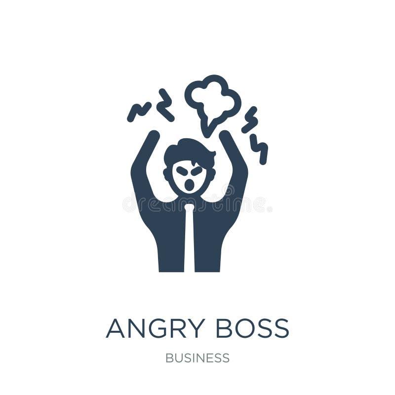 gniewna szef ikona w modnym projekta stylu gniewna szef ikona odizolowywająca na białym tle gniewnego szefa wektorowa ikona prost royalty ilustracja