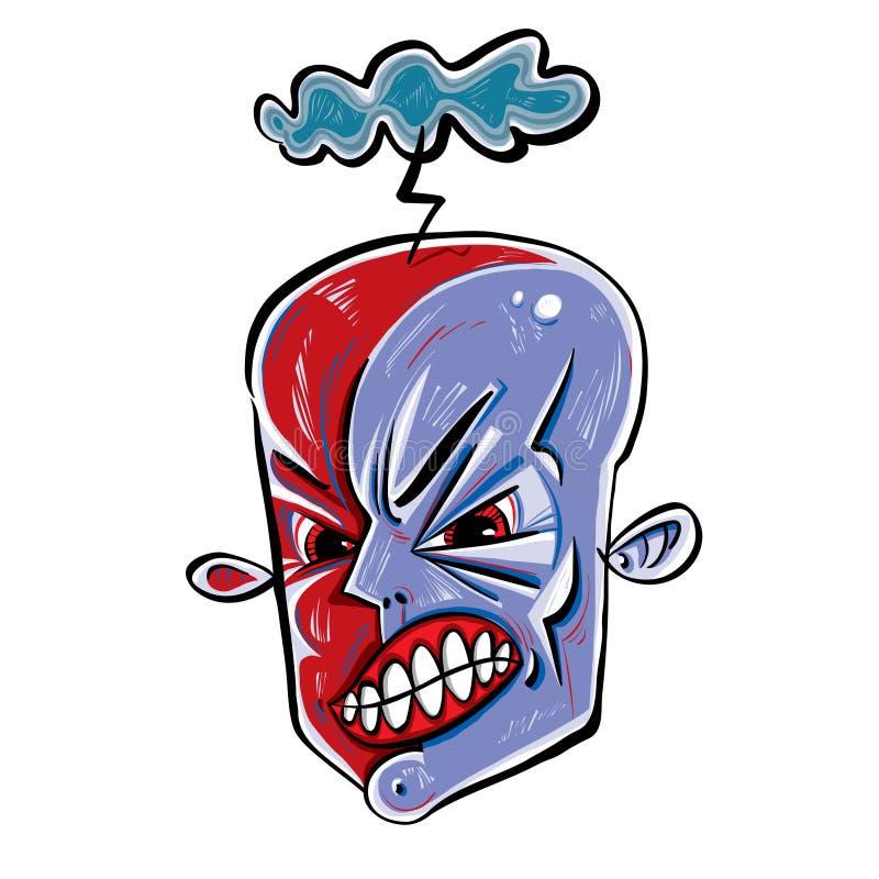 Gniewna twarz. ilustracja wektor