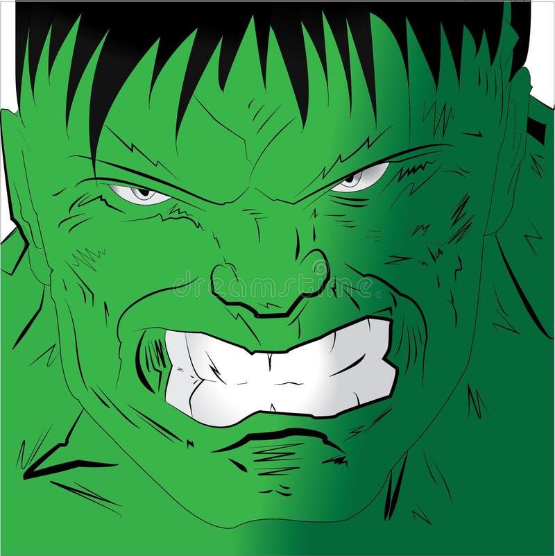 Gniewna twarz hulk ilustracja wektor