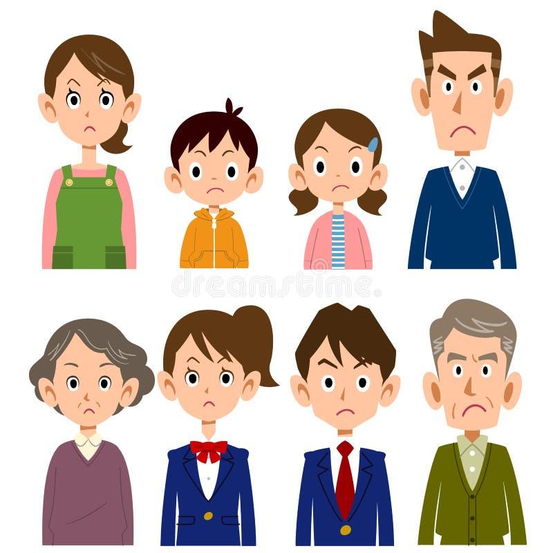 Gniewna twarz rodzinny, górny ciało, royalty ilustracja