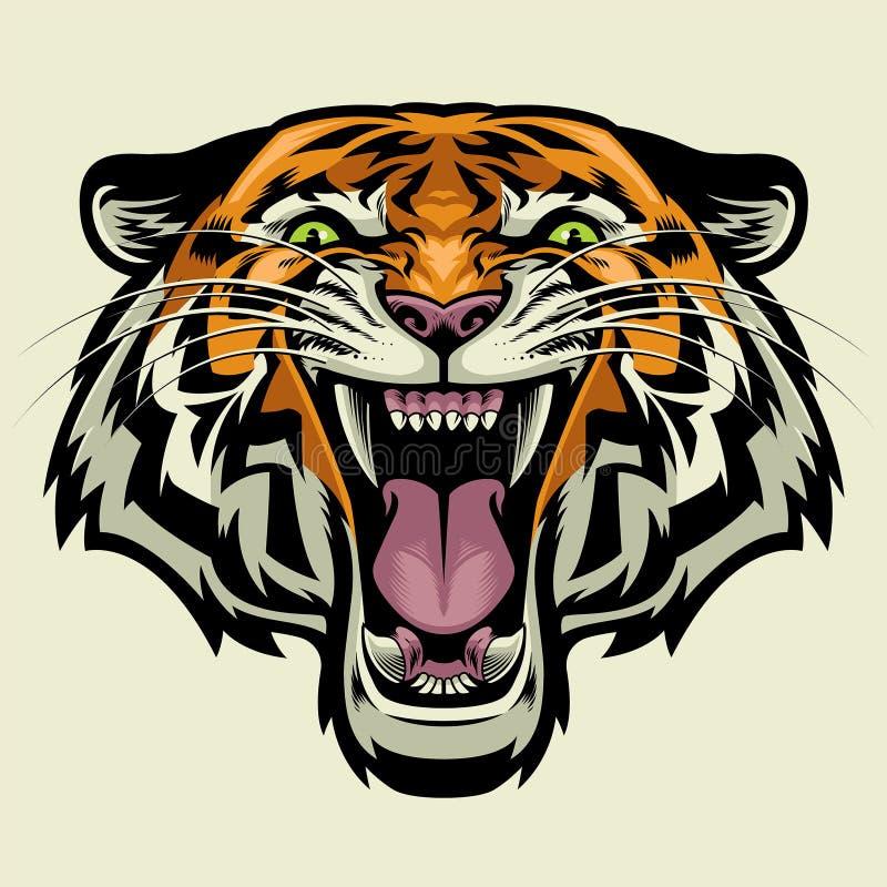 Gniewna tygrys głowa ilustracji
