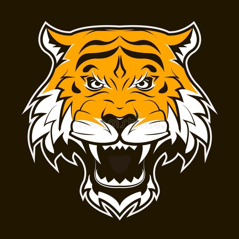 Gniewna tygrysia twarz Huczenie tygrysa głowa ilustracji