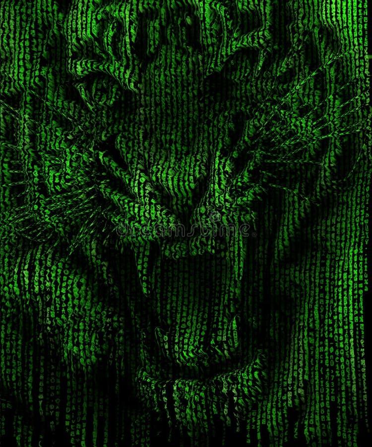 Gniewna tygrysia twarz w matrycowym tle ilustracji