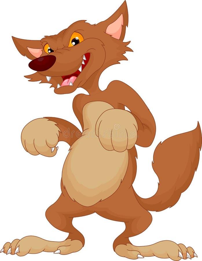 Gniewna wilcza kreskówka ilustracja wektor