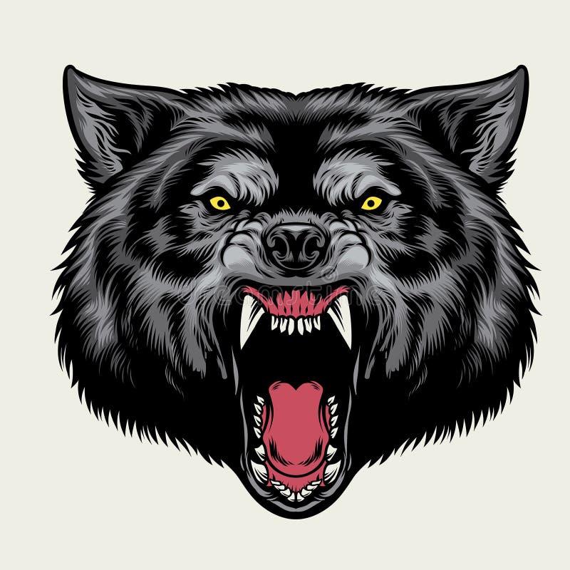 Gniewna wilk głowa ilustracja wektor