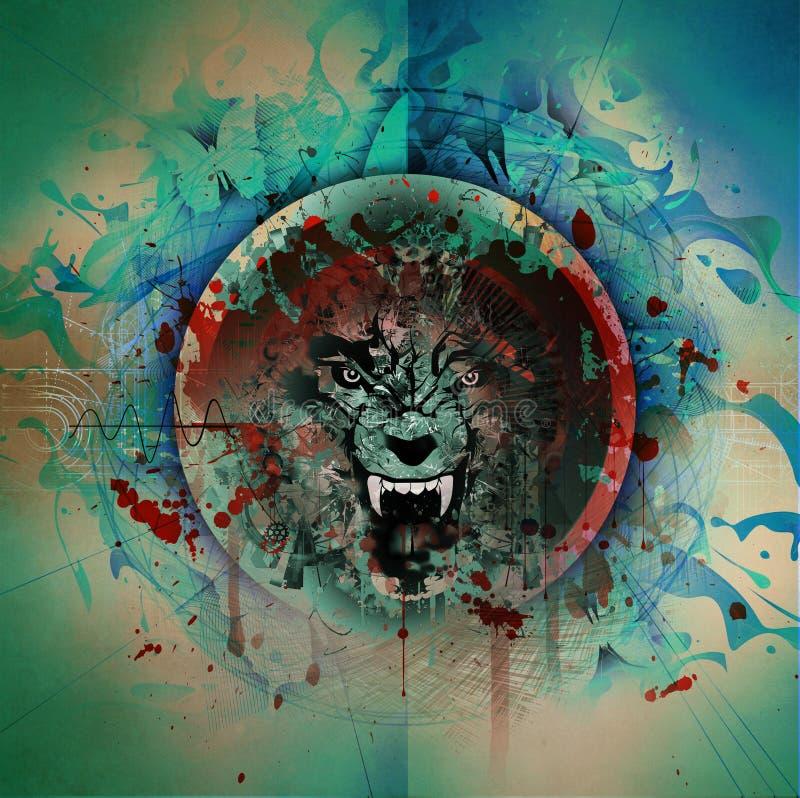 Gniewna wilk głowa royalty ilustracja
