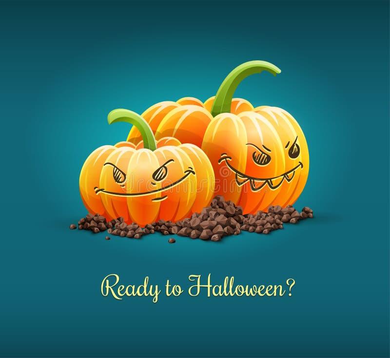 Gniewne banie dla Halloween wakacyjnej wektorowej ilustraci ilustracja wektor