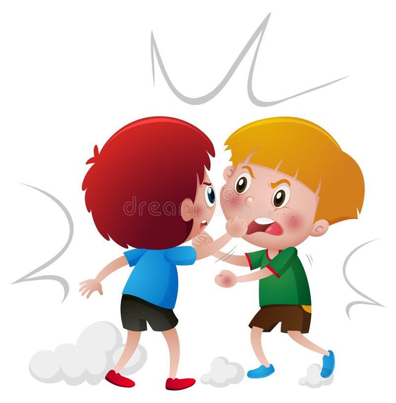Gniewne chłopiec walczy each inny ilustracji