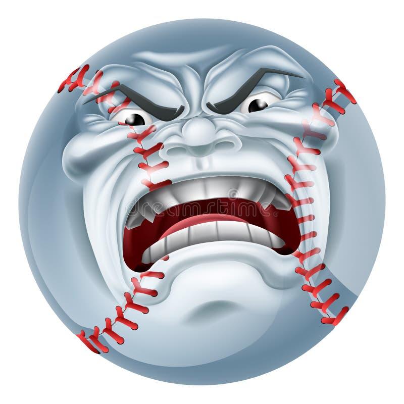 Gniewnego baseballa sportów kreskówki Balowa maskotka ilustracja wektor