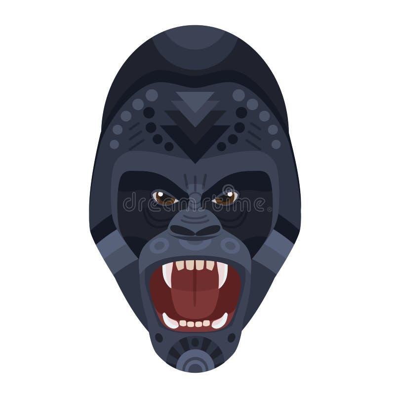 Gniewnego dzikiego okrutnie goryla krzyczący kierowniczy logo Wektorowy dekoracyjny emblemat ilustracji