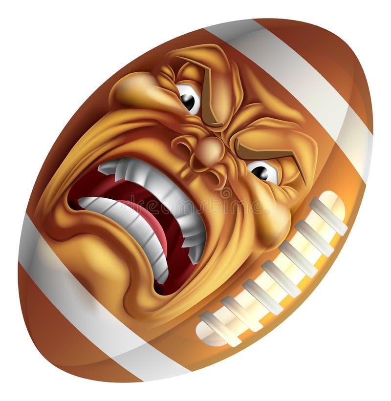 Gniewnego futbolu amerykańskiego sportów kreskówki Balowa maskotka ilustracja wektor