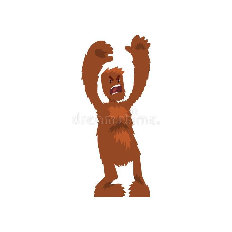 Gniewnego okrutnie Bigfoot mitycznej istoty postać z kreskówki wektorowa ilustracja na białym tle ilustracja wektor