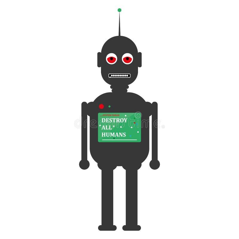 Gniewnego twarz klasyka stylu robota popielaty kolor z nogami, rękami i klatka piersiowa ekranem Klasycznego robota koloru popiel ilustracji