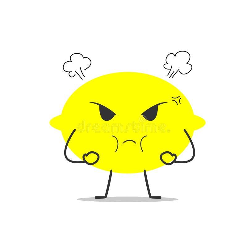 Gniewnej cytryny kreskówki prosta czysta ilustracja zdjęcia stock