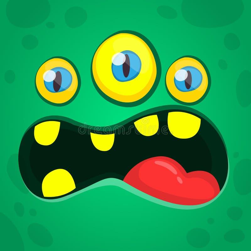 Gniewnej kreskówki zieleni obcy potwór z trzy oczami Wektorowy Halloweenowy potwora avatar wrzask ilustracja wektor