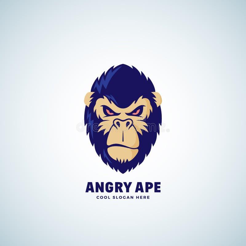 Gniewnej małpy wektoru Abstrakcjonistyczny znak, emblemat lub loga szablon, Małpi twarz symbol Goryl Kierownicza sylwetka Dobry j royalty ilustracja