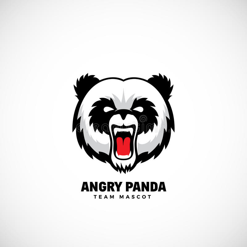 Gniewnej pandy wektoru drużyny Abstrakcjonistyczna maskotka, etykietka lub loga szablon, Niedźwiadkowa twarzy ikona bez tła royalty ilustracja