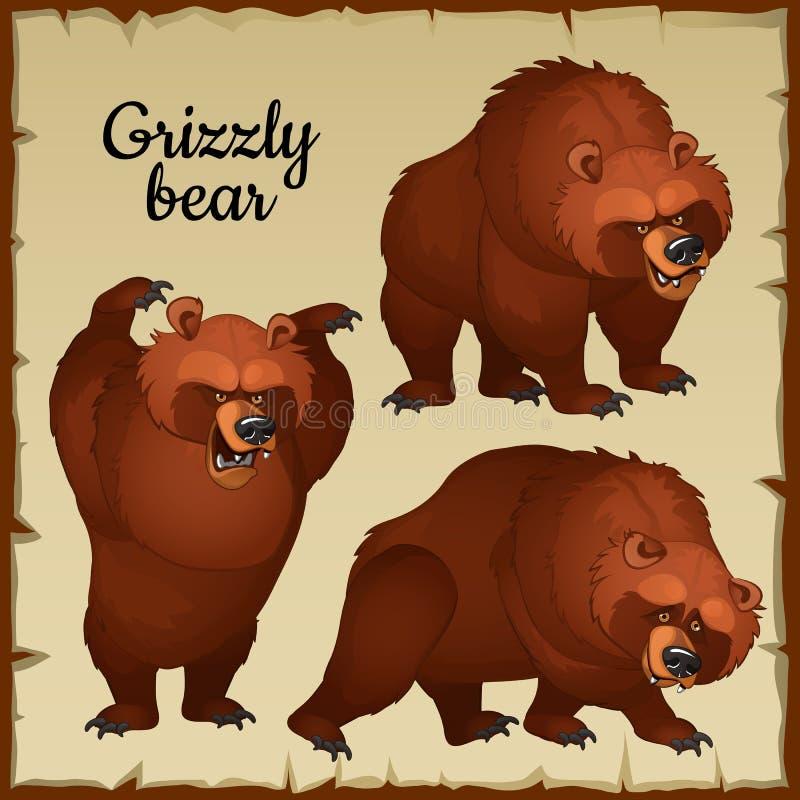 Gniewni brown niedźwiedzia ataki royalty ilustracja