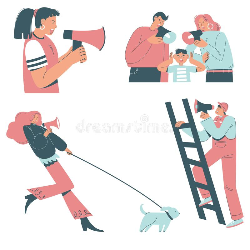 Gniewni ludzie z megafonami, wektorowy mieszkanie odizolowywali ilustrację ilustracja wektor