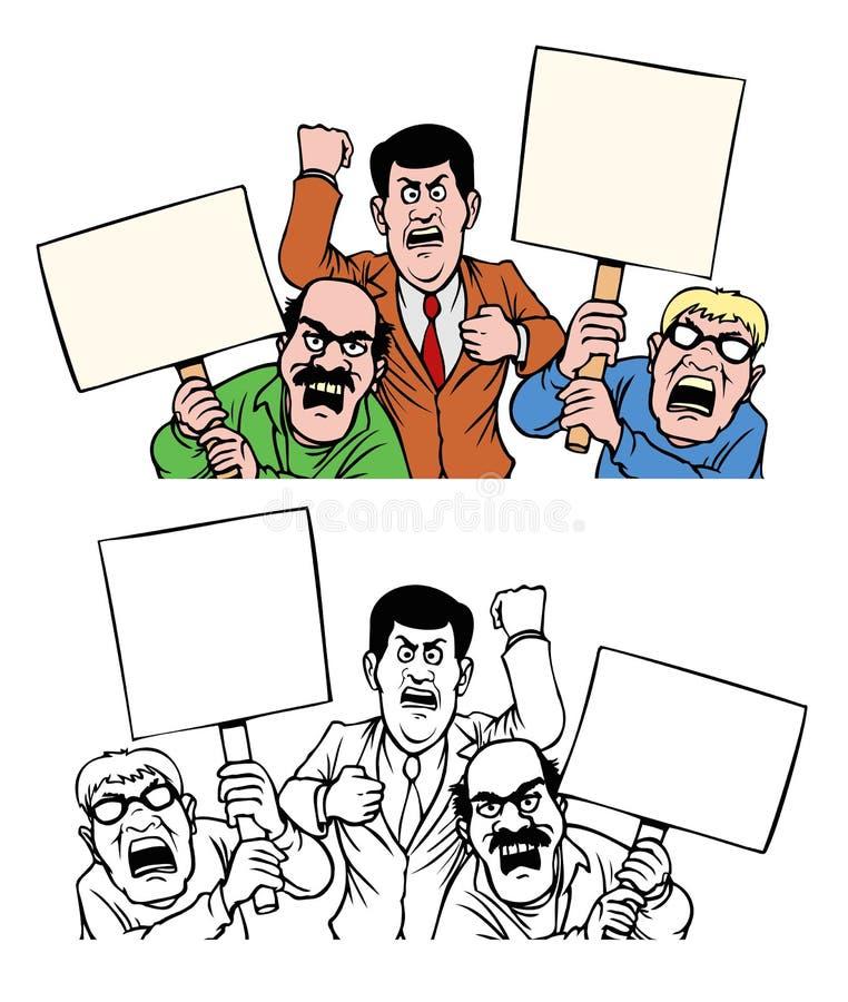 Gniewni mężczyźni protestuje z pustymi znakami ilustracji