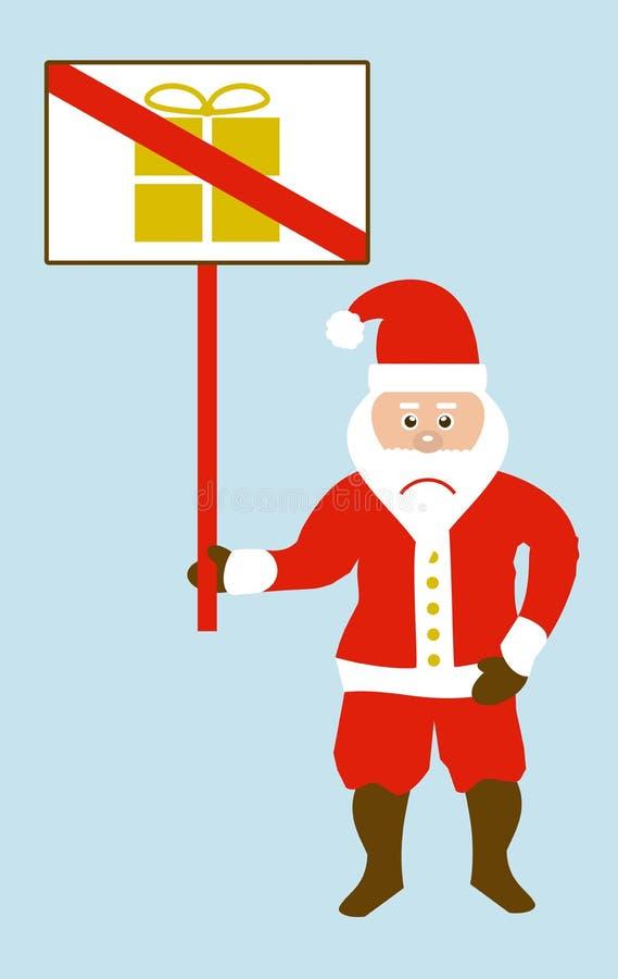Gniewni Santa ist protestuje przeciw boże narodzenie teraźniejszość royalty ilustracja