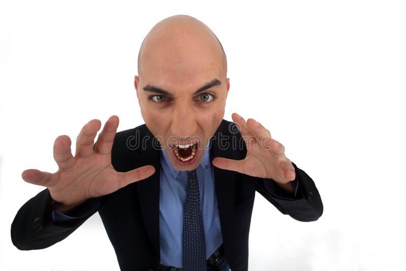 Gniewny łysy biznesmen fotografia stock