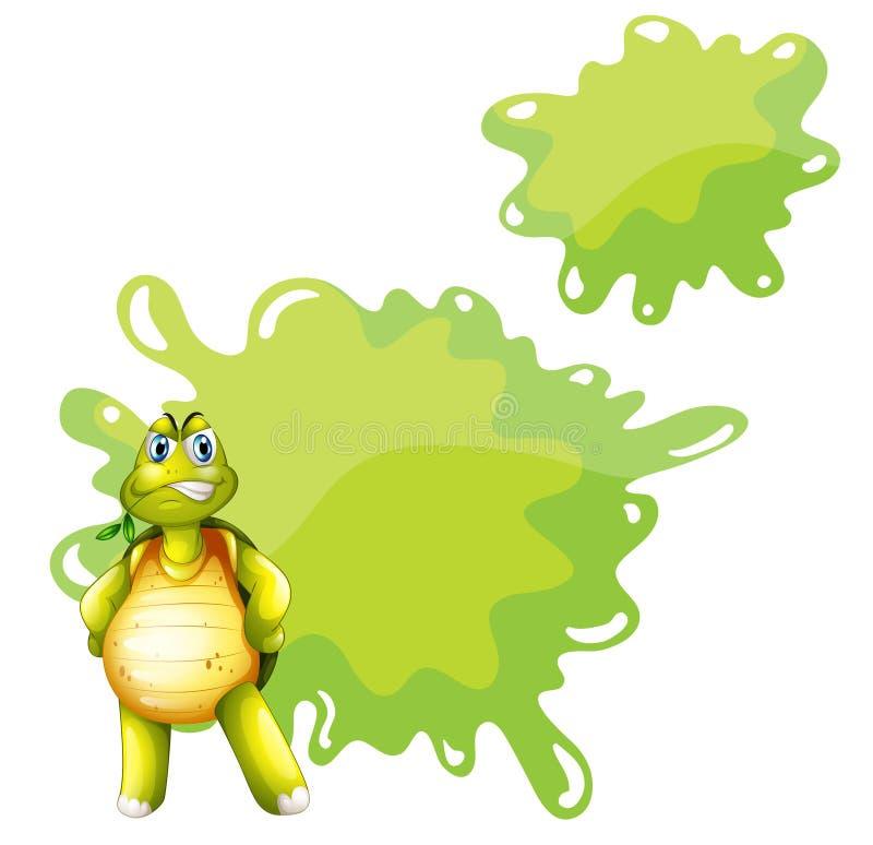 Gniewny żółw z pustym szablonem przy plecy royalty ilustracja