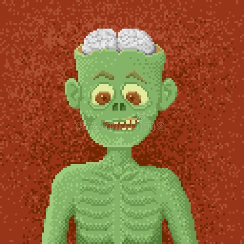Gniewny żywy trup - piksel sztuki ilustracja ilustracja wektor