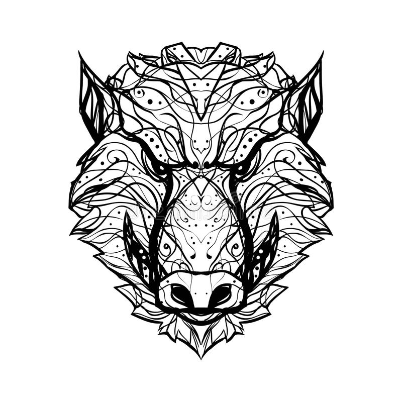 Gniewny, agresywny dziki knur, aper- czarny i biały wektorowy logo/jesteśmy ilustracji
