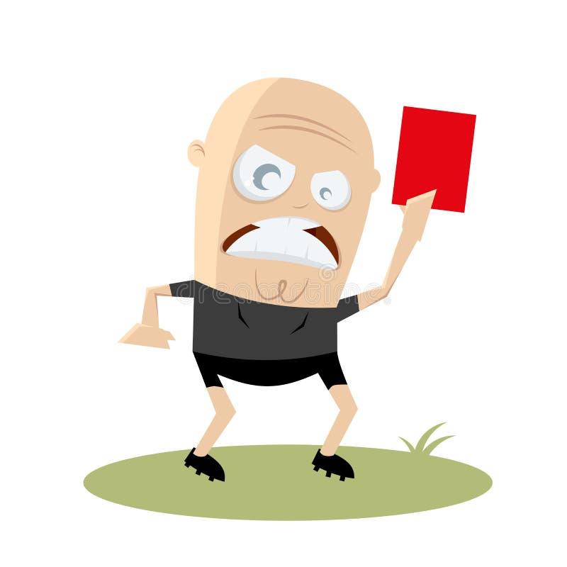 Gniewny arbiter pokazuje czerwoną kartkę ilustracja wektor
