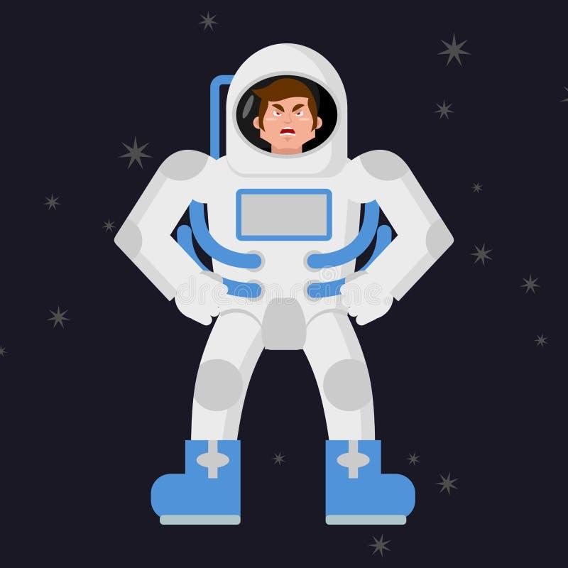 Gniewny astronauta Kosmonauta zdegustowany Agresywny mężczyzna w przestrzeni royalty ilustracja