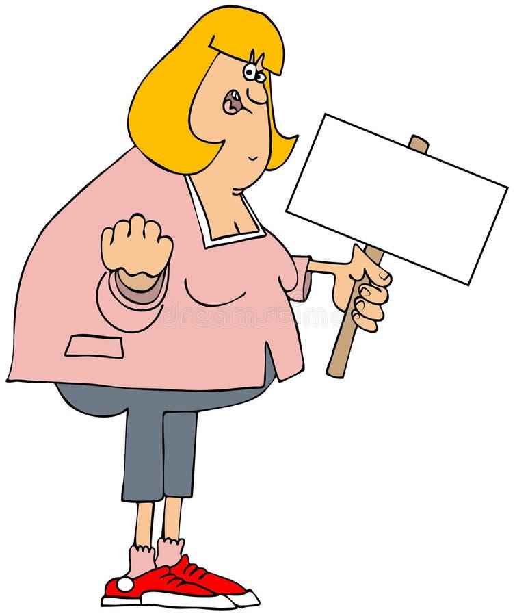 Gniewny biała kobieta protestujący royalty ilustracja