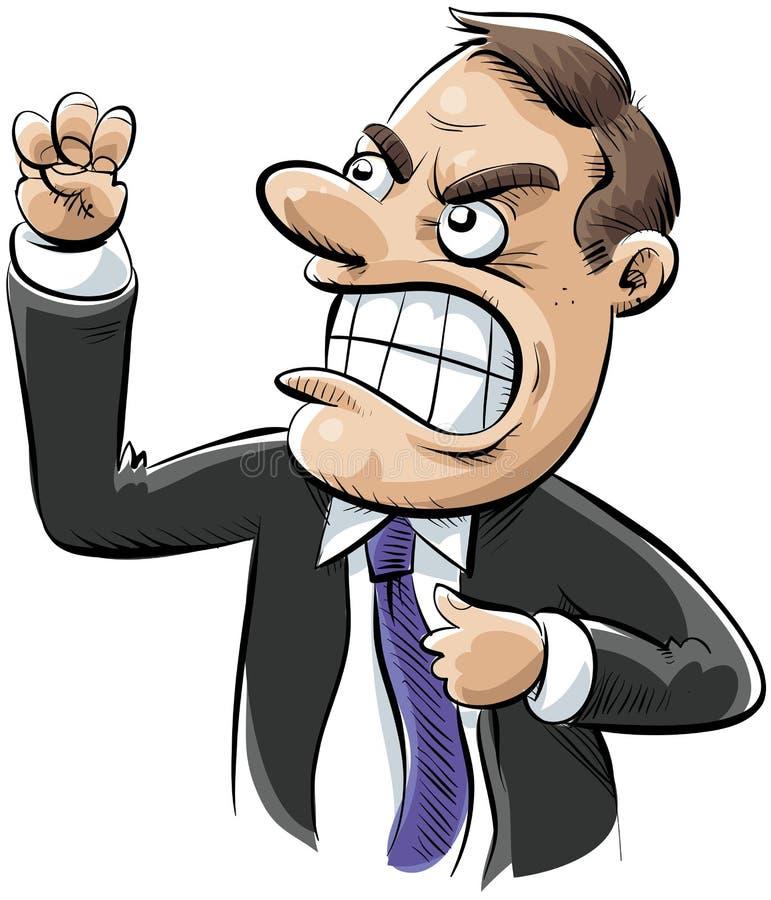 gniewny biznesmen ilustracja wektor