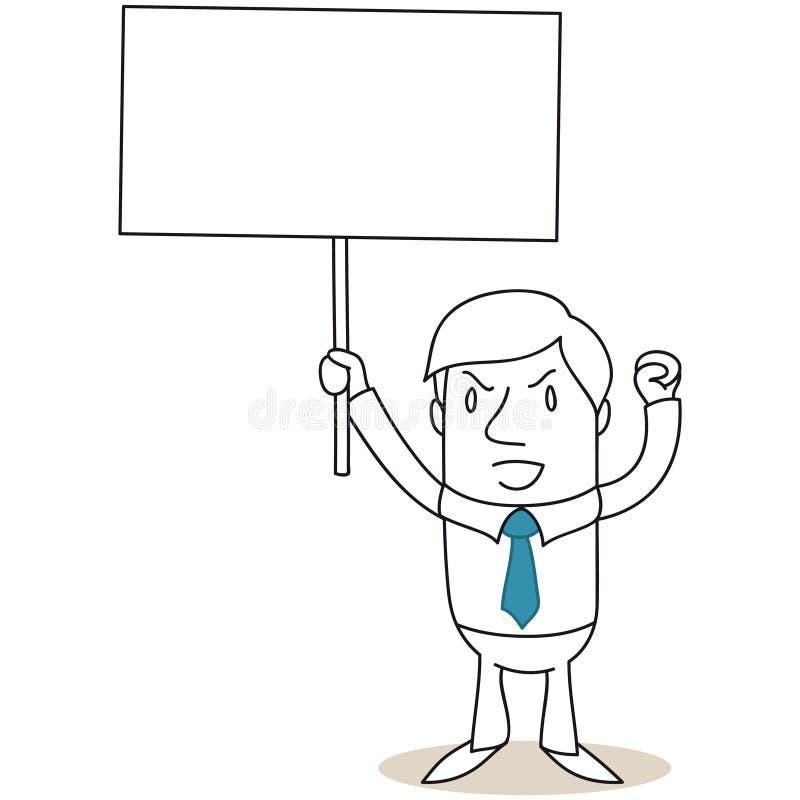 Gniewny biznesmen protestuje z puste miejsce znakiem ilustracja wektor