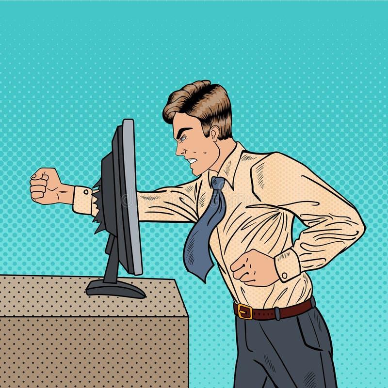 Gniewny biznesmen Rozbija komputer w biurze z Jego pięść wystrzału sztuką ilustracji