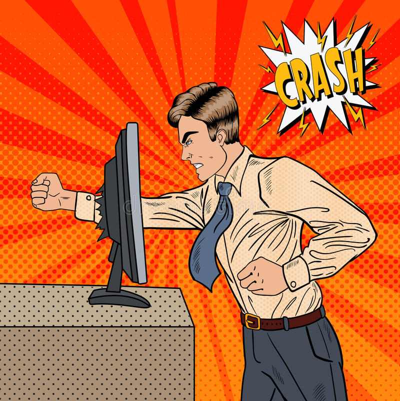 Gniewny biznesmen Rozbija komputer w biurze z Jego pięść wystrzału sztuką royalty ilustracja