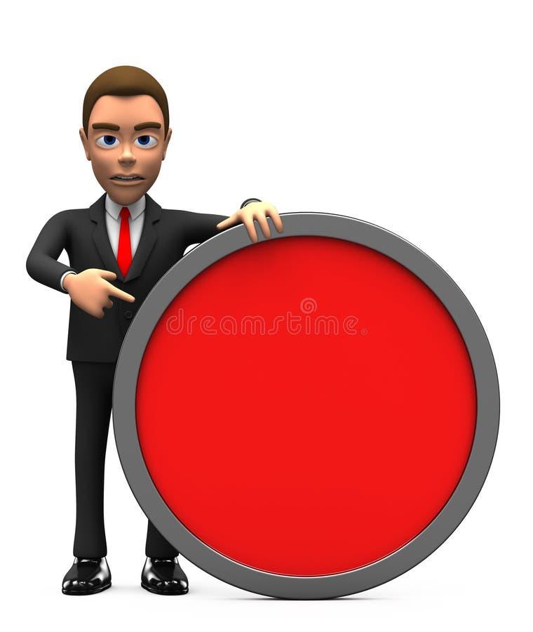 Gniewny biznesmen z czerwonym okręgiem royalty ilustracja