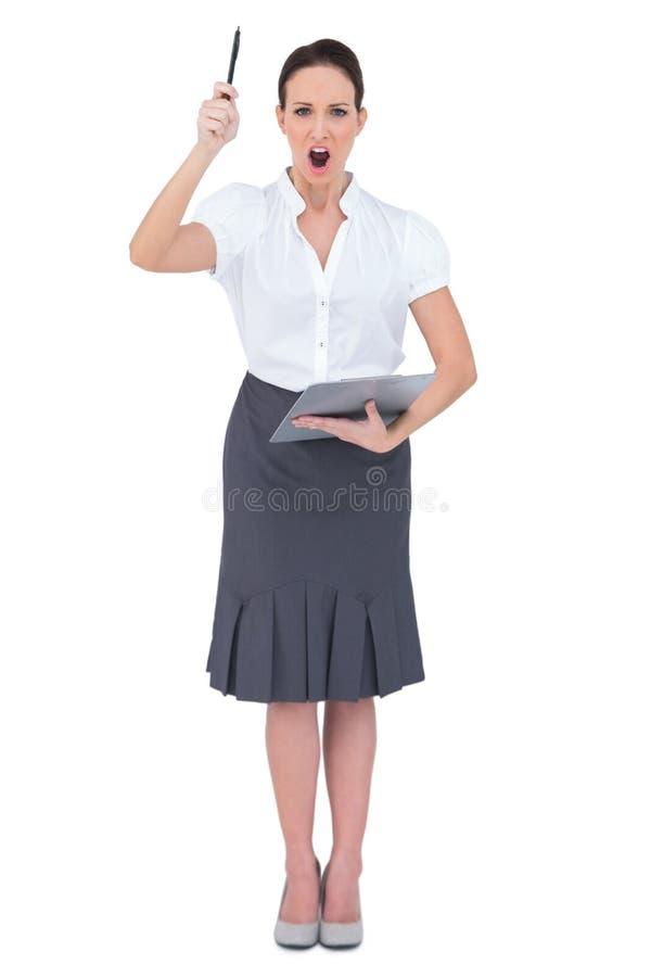Gniewny bizneswomanu krzyczeć obraz stock