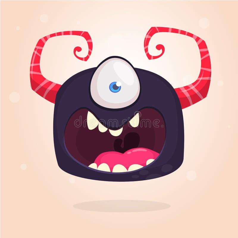 Gniewny bllack kreskówki potwór z jeden okiem Duża kolekcja śliczni potwory Halloweenowy charakter ściągania ilustracj wizerunek  ilustracji