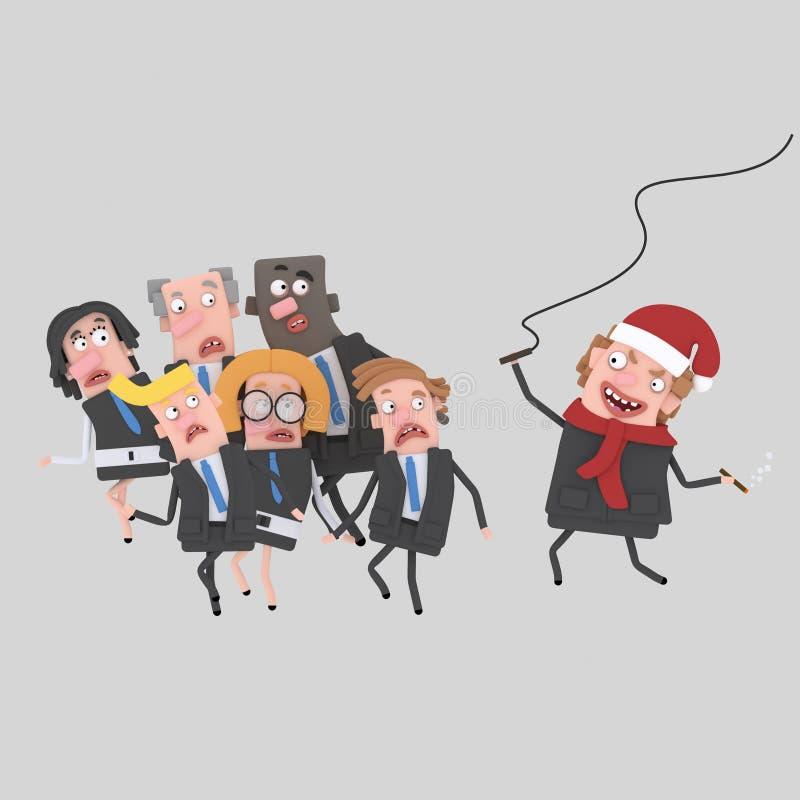 Gniewny boże narodzenie szef z batem 3d ilustracja wektor