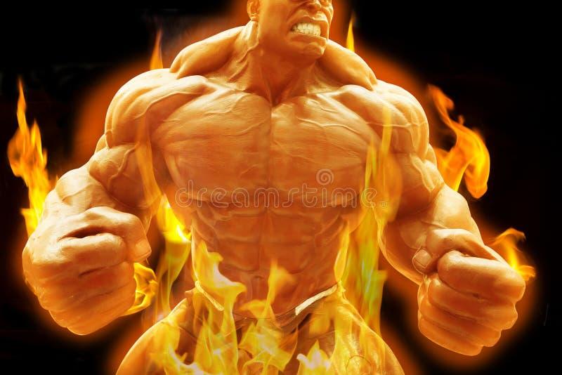 Gniewny bodybuilder faceta przedstawienie pozuje z płomiennym pojęciem royalty ilustracja