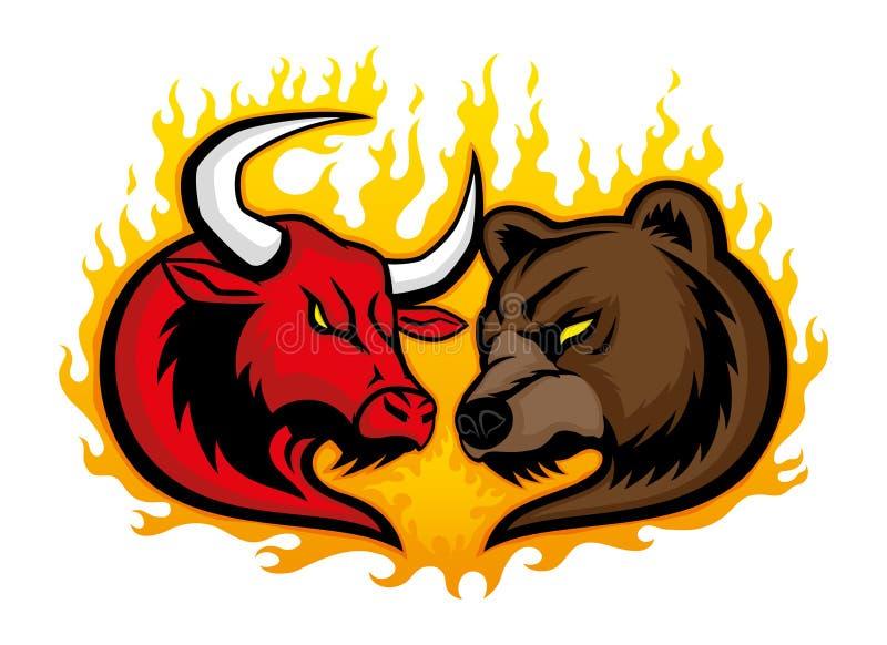 Gniewny byk i niedźwiedź royalty ilustracja