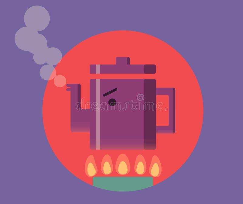Gniewny czajnik na kuchence ilustracja wektor